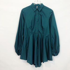 Free People Button Front Tunic Teal Ruffled S NWT